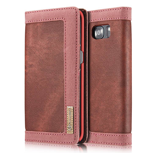 CaseMe Samsung Galaxy S7 Edge Jeans Leather Stand Wallet Case Red