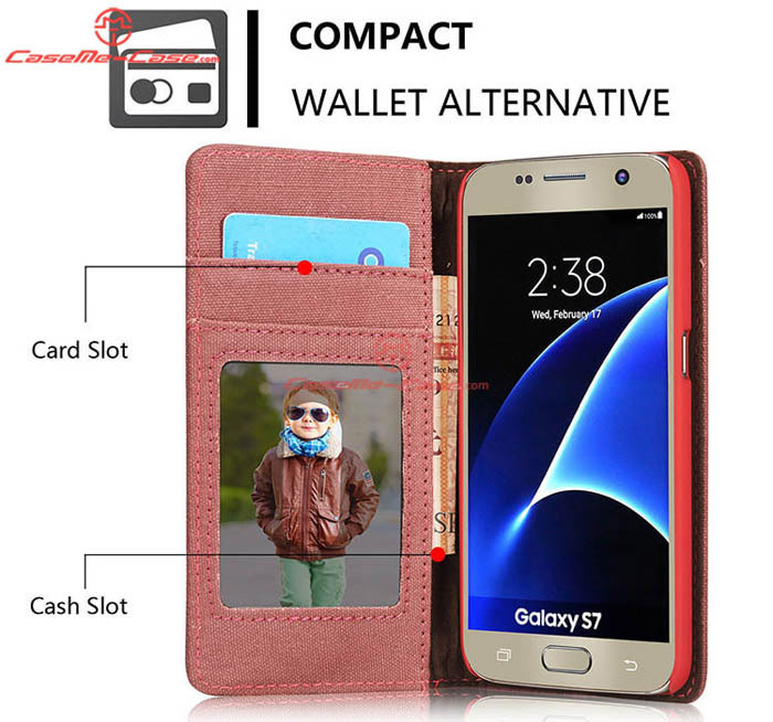 caseme samsung galaxy s7 jeans leather stand wallet case red. Black Bedroom Furniture Sets. Home Design Ideas