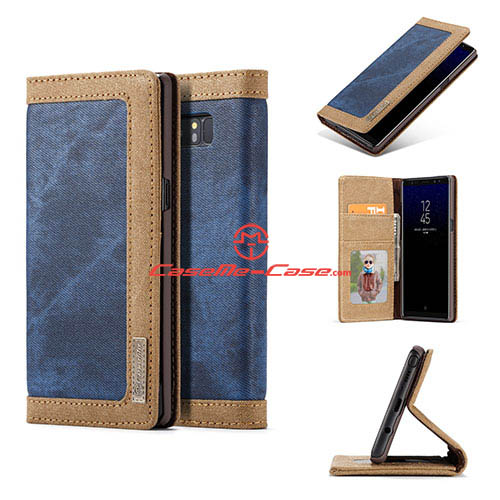 CaseMe Samsung Galaxy Note 8 Jeans Magnetic Wallet Case Blue
