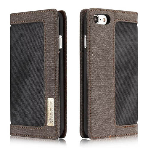 CaseMe iPhone 8 Jeans Leather Stand Wallet Case Black
