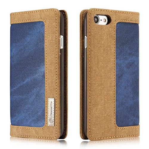 CaseMe iPhone 8 Jeans Leather Stand Wallet Case Blue