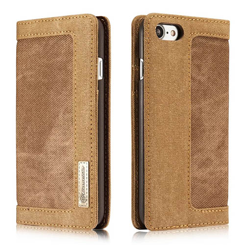CaseMe iPhone 8 Jeans Leather Stand Wallet Case Brown