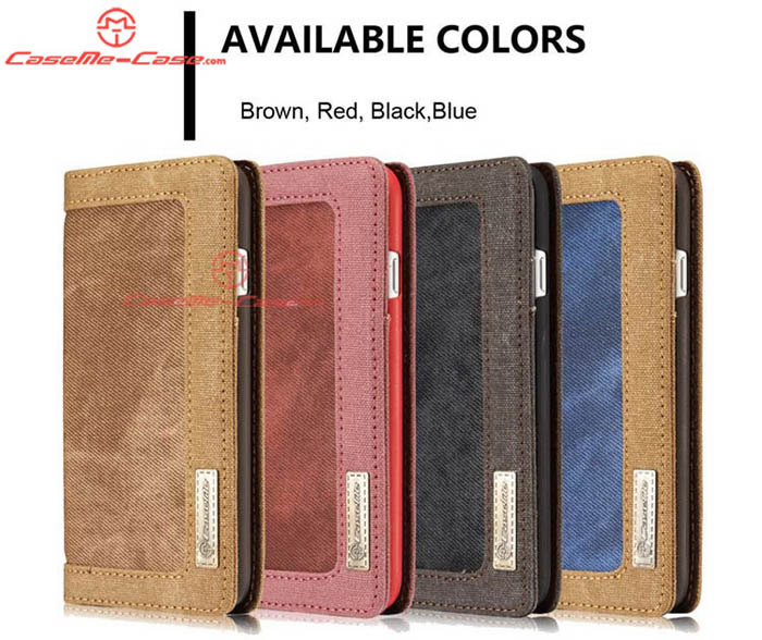 CaseMe iPhone 8 Jeans Leather Stand Wallet Case