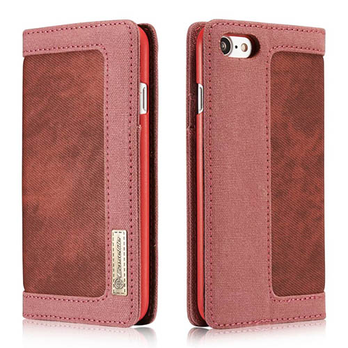 CaseMe iPhone 7 Jeans Leather Stand Wallet Case Red