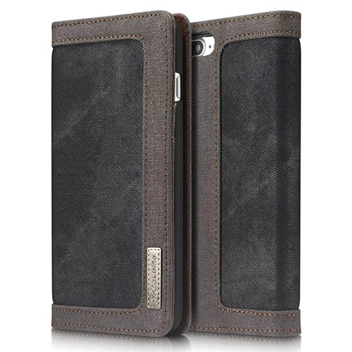 CaseMe iPhone 8 Plus Jeans Leather Stand Wallet Case Black