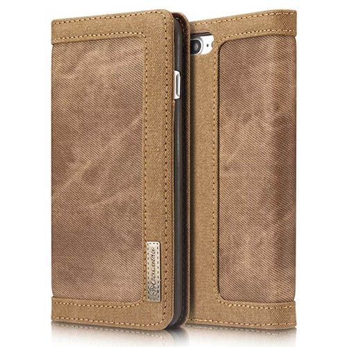 CaseMe iPhone 8 Plus Jeans Leather Stand Wallet Case Brown