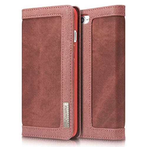 CaseMe iPhone 8 Plus Jeans Leather Stand Wallet Case Red