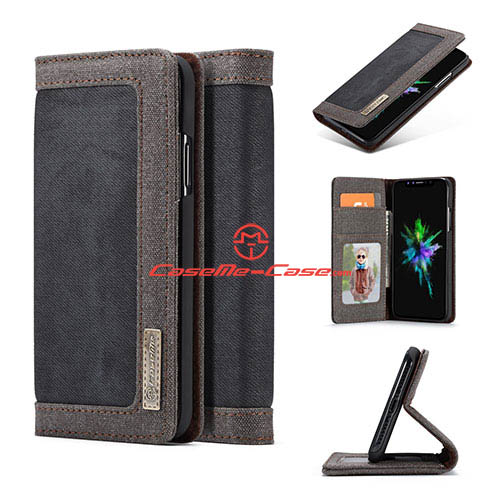 CaseMe iPhone X Jeans Magnetic Flip Wallet Stand Case Black