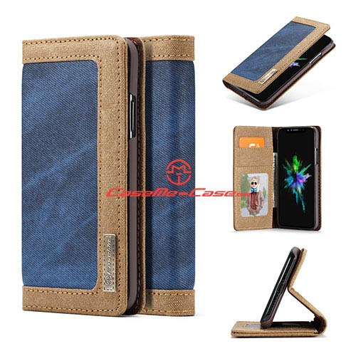 CaseMe iPhone X Jeans Magnetic Flip Wallet Stand Case Blue