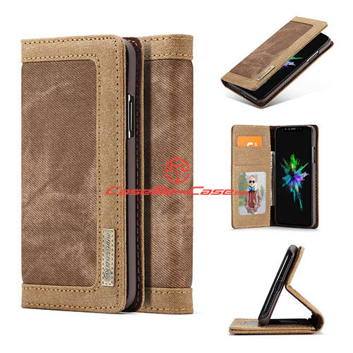 CaseMe iPhone X Jeans Magnetic Flip Wallet Stand Case Brown
