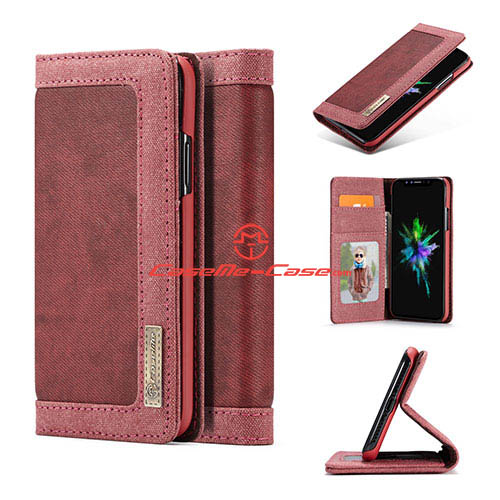 CaseMe iPhone X Jeans Magnetic Flip Wallet Stand Case Red