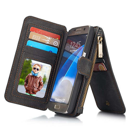 CaseMe Samsung Galaxy S7 Zipper Wallet Detachable 2 in 1 Flip Case Black