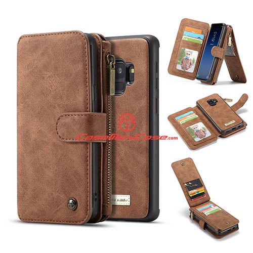 CaseMe Samsung Galaxy S9 Zipper Wallet 2 in 1 Case Brown