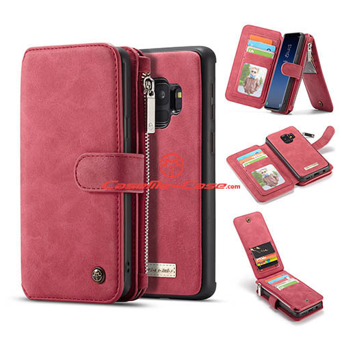 CaseMe Samsung Galaxy S9 Zipper Wallet 2 in 1 Case Red