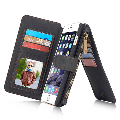 CaseMe iPhone 6 Plus Zipper Wallet Detachable 2 in 1 Flip Case Black