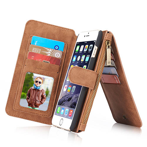 CaseMe iPhone 6 Plus Zipper Wallet Detachable 2 in 1 Flip Case Brown