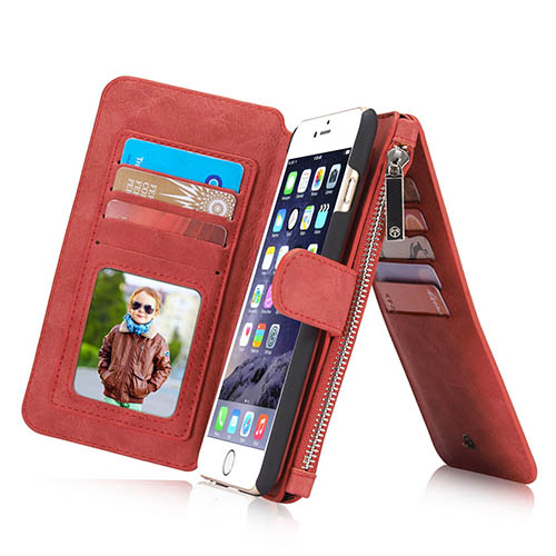 CaseMe iPhone 6 Plus Zipper Wallet Detachable 2 in 1 Flip Case Red