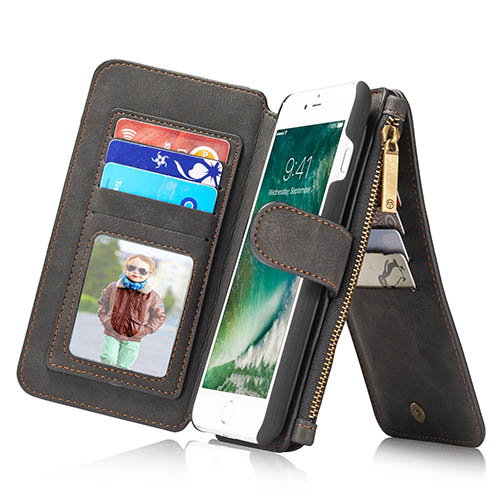 CaseMe iPhone 7 Plus Zipper Wallet Detachable 2 in 1 Flip Case Black