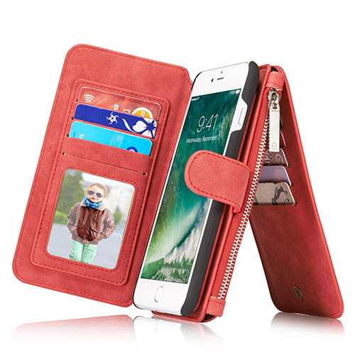 CaseMe iPhone 7 Plus Zipper Wallet Detachable 2 in 1 Flip Case Red