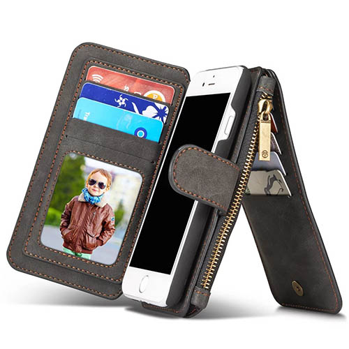 CaseMe iPhone 7 Zipper Wallet Detachable 2 in 1 Flip Case Black