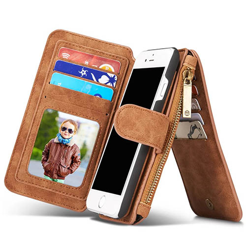 CaseMe iPhone 7 Zipper Wallet Detachable 2 in 1 Flip Case Brown