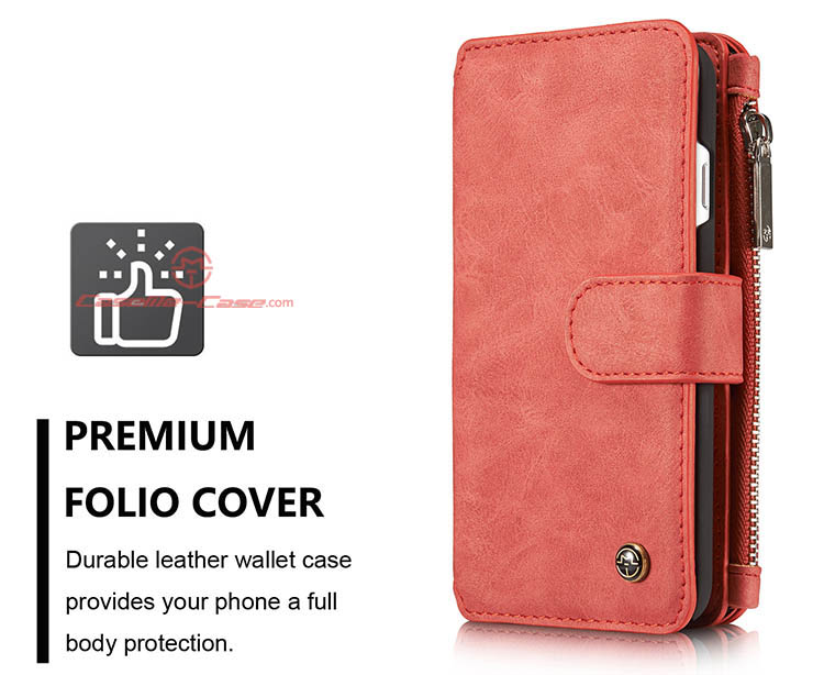 CaseMe iPhone 7 Zipper Wallet Detachable 2 in 1 Flip Case Red