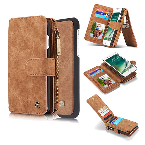 CaseMe iPhone 8 Zipper Wallet Detachable Flip Case Brown