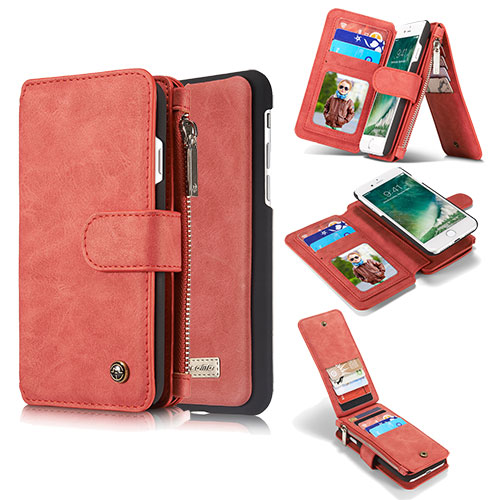 CaseMe iPhone 8 Zipper Wallet Detachable Flip Case Red