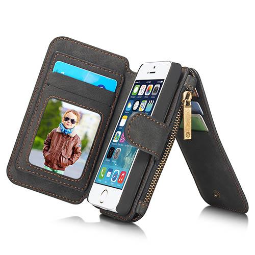 CaseMe iPhone 5S/5 Zipper Wallet Detachable 2 in 1 Flip Case Black