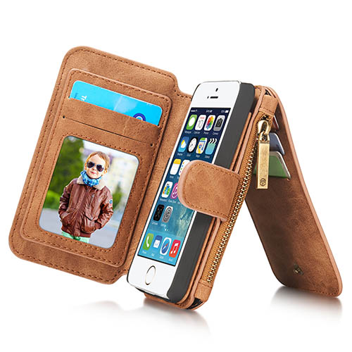 CaseMe iPhone 5S/5 Zipper Wallet Detachable 2 in 1 Flip Case Brown