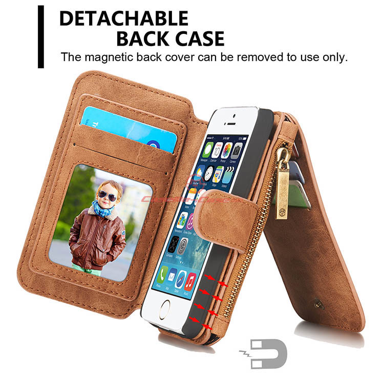 828d74b3a CaseMe 007 iPhone 5S/5 Zipper Wallet Detachable 2 in 1 Flip Case Brown