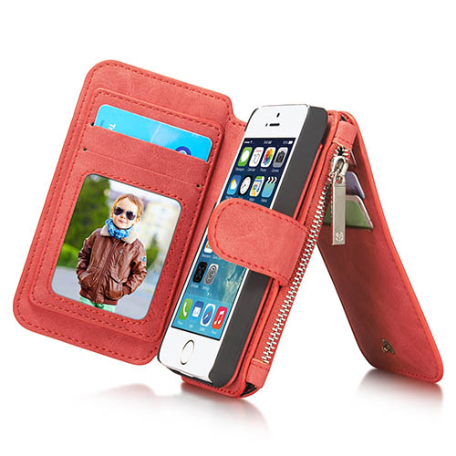 CaseMe iPhone 5S/5 Zipper Wallet Detachable 2 in 1 Flip Case Red