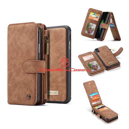 CaseMe iPhone X Zipper Wallet Detachable 2 in 1 Flip Case Brown