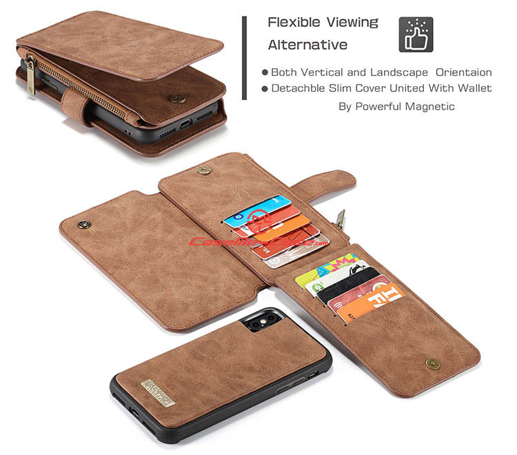 CaseMe iPhone X Zipper Wallet Detachable 2 in 1 Flip Case