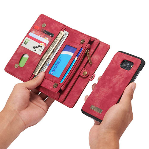 CaseMe Samsung Galaxy S7 Edge Detachable 2 in 1 Zipper Wallet Folio Case Red