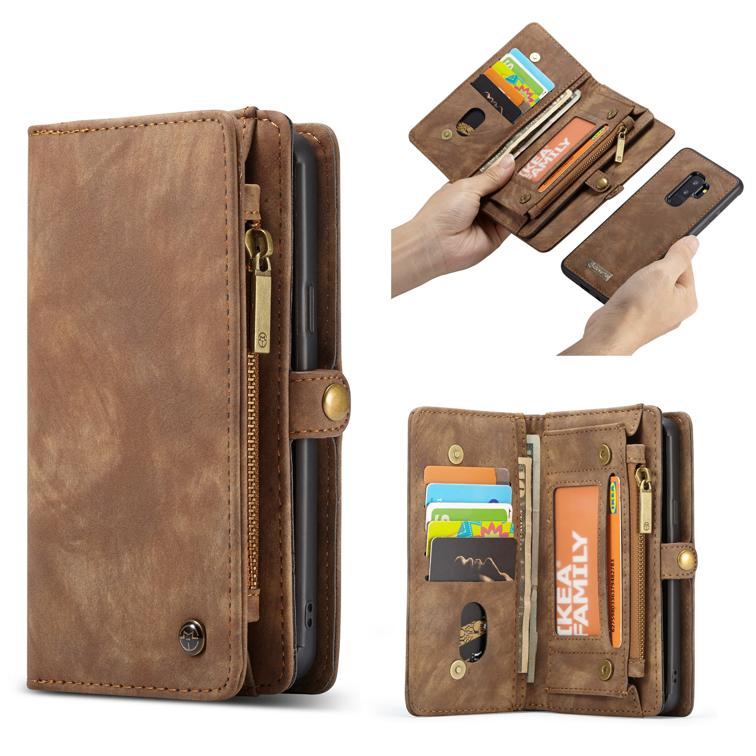 CaseMe Samsung Galaxy S9 Plus Zipper Wallet 2 in 1 Case Brown