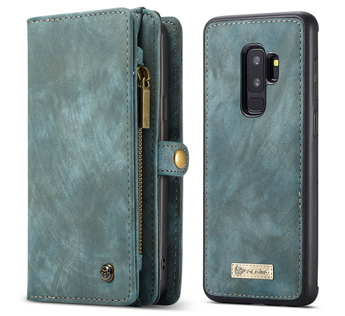 CaseMe Samsung Galaxy S9 Plus Detachable Zipper Wallet 2 in 1 Folio Case