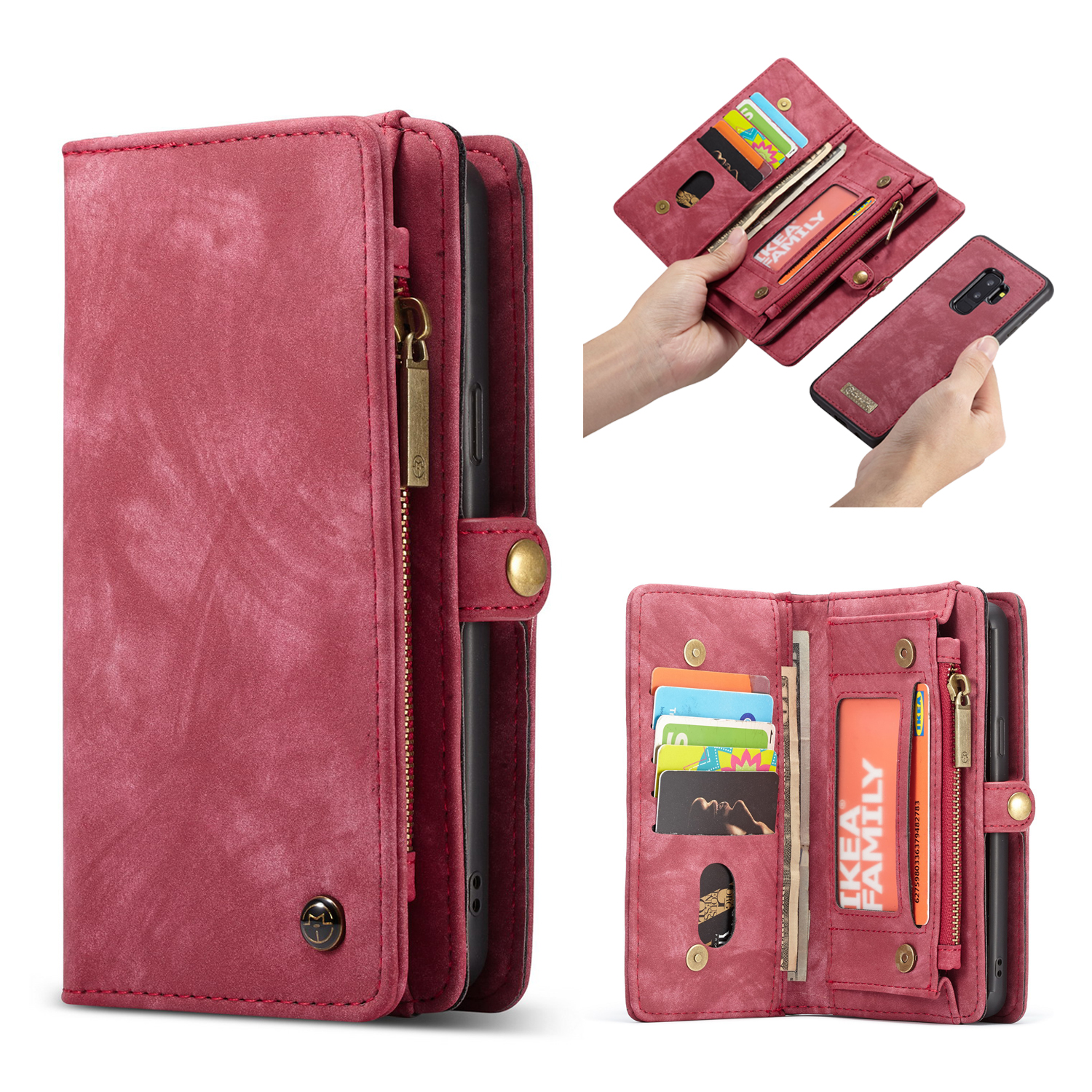 CaseMe Samsung Galaxy S9 Plus Zipper Wallet 2 in 1 Case Red