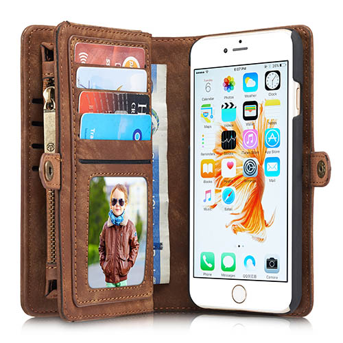 CaseMe iPhone 6 Plus Zipper Wallet Detachable 2 in 1 Folio Case Brown