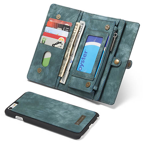 CaseMe iPhone 6 Plus Zipper Wallet Detachable 2 in 1 Folio Case Green