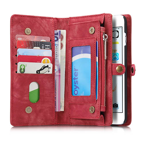 CaseMe iPhone 6 Plus Zipper Wallet Detachable 2 in 1 Folio Case Red