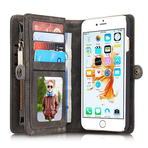 CaseMe iPhone 6S Zipper Wallet Detachable 2 in 1 Folio Case Black