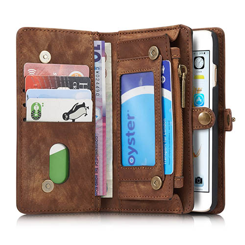 CaseMe iPhone 6S Zipper Wallet Detachable 2 in 1 Folio Case Brown