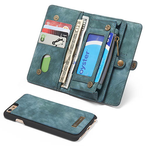 CaseMe iPhone 6S Zipper Wallet Detachable 2 in 1 Folio Case Green