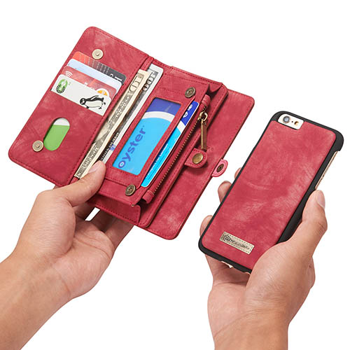 CaseMe iPhone 6S Zipper Wallet Detachable 2 in 1 Folio Case Red