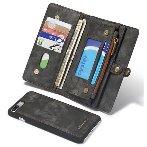 CaseMe iPhone 7 Plus Detachable 2 in 1 Zipper Wallet Folio Case Black