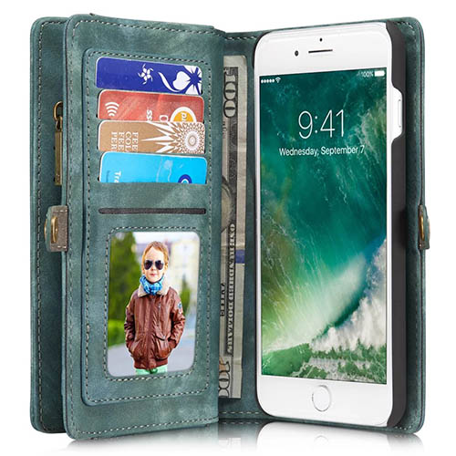 CaseMe iPhone 7 Plus Detachable 2 in 1 Zipper Wallet Folio Case Green