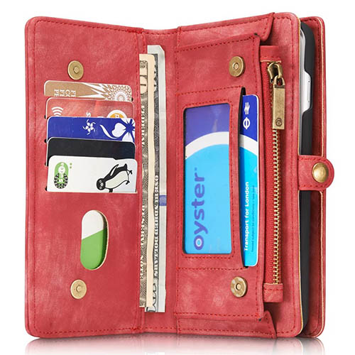 CaseMe iPhone 7 Plus Detachable 2 in 1 Zipper Wallet Folio Case Red