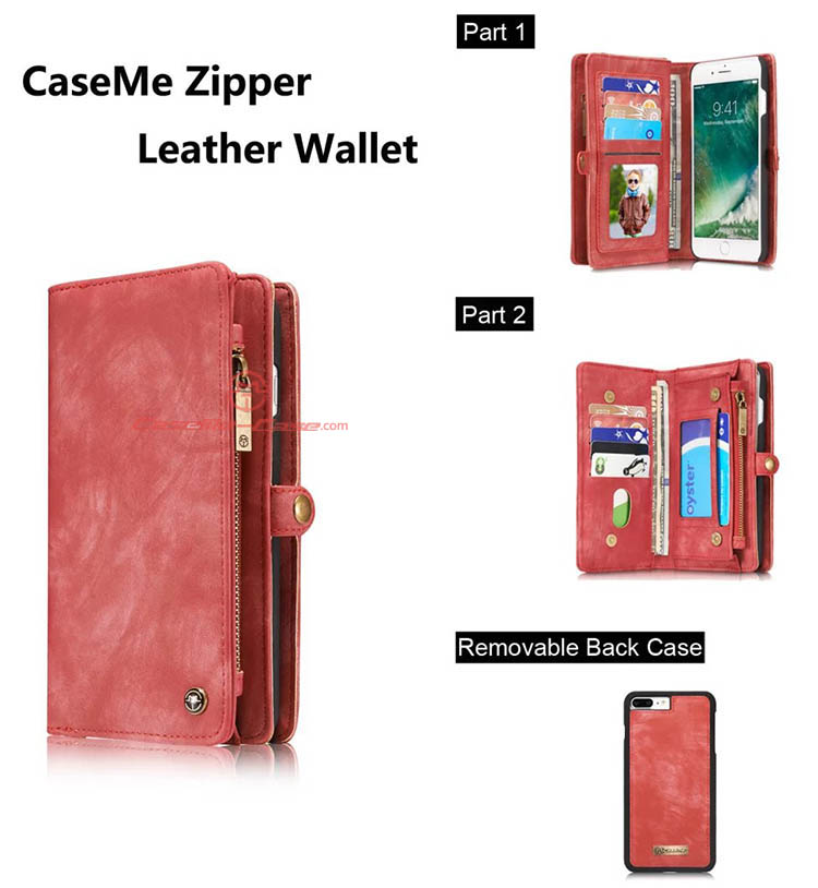 CaseMe iPhone 8 Plus Detachable 2 in 1 Zipper Wallet Folio Case