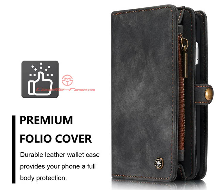 CaseMe iPhone 7 Detachable 2 in 1 Zipper Wallet Folio Case Black